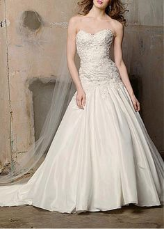 GLAMOROUS TAFFETA A-LINE STRAPLESS SWEETHEART NECKLINE BRIDAL DRESS LACE BRIDESMAID PARTY COCKTAIL GOWN