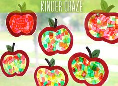 "During our apple study, my kindergarten students made the cutest apple window decorations with clear contact paper, tissue paper squares and a little construction paper. I make many of these ""stain..."