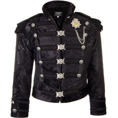 Shrine of Hollywood Dominion Jacket (Black) (£400) ❤ liked on Polyvore featuring outerwear, jackets and steampunk jacket