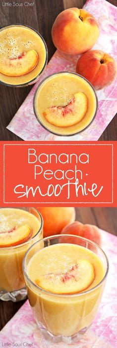 Smoothie Recipes Easy Banana Peach Smoothie - One of our favorite things to make with peaches is a quick and easy peach smoothie! This smoothie is delicious! Yummy Smoothies, Juice Smoothie, Smoothie Drinks, Breakfast Smoothies, Smoothie Detox, Making Smoothies, Protein Smoothies, Protein Breakfast, Detox Drinks