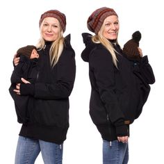 Softshell baby carrying coat, 3in1 babywearing carrying jacket, allweather carrier jacket, maternity apparel, pregnancy, schwarz, AVENTURO