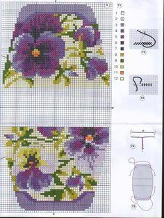 Cross-stitch Pansies Purse pattern...   Gallery.ru / Фото #1 - сумочки игольницы - irisha-ira