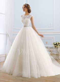Ball-Gown Scoop Neck Sweep Train Lace Beading Tulle Covered Button Cap Straps Sleeveless Church Hall Garden / Outdoor General No Spring Summer Ivory White Wedding Dress