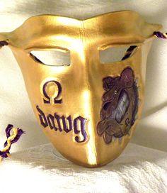 Omega Psi Phi Full Face Shield Metallic Royal by HideBehindMe Alpha Kappa Alpha Sorority, Sorority And Fraternity, Omega Gifts, Omega Psi Phi Paraphernalia, Black Fraternities, Divine Nine, Purple Gold, Metallic Gold, Leather Mask