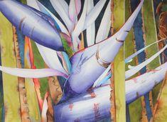 Dramatic Art Original Watercolor Painting of a Tropical Hawaiian WHITE BIRDS of Paradise