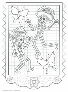 Dibujos para colorear el día de los muertos (11) Mario Coloring Pages, Skull Coloring Pages, Free Adult Coloring Pages, Halloween Coloring Pages, Colouring Pages, Coloring Books, Day Of The Dead Drawing, Day Of The Dead Art, Mexican Embroidery