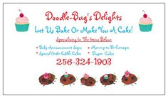 Doodle bugs delights let us help you celebrate with unique designs doodle bugs delights business card baby diaper cakescake reheart Choice Image