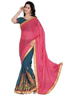 Multi Embroidery With Heavy Border Lycra Georgette Saree