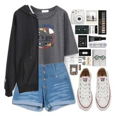 """""""beautifulhalo"""" by ellac9914 ❤ liked on Polyvore featuring Converse, Polaroid, Forever 21, Fig+Yarrow, Make, philosophy, Threshold, Ray-Ban, women's clothing and women"""