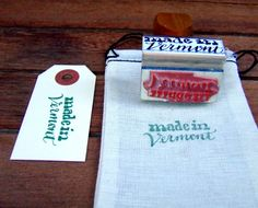Made in Vermont Rubber Stamp, Made in Your State, Cursive Lettering Calligraphy, Gift Tag Canning Label Stamp, Green Mountain State