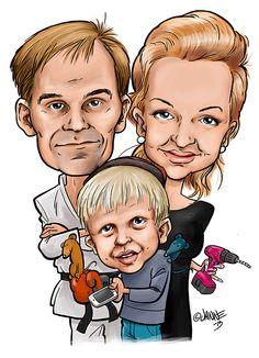 Tälläinen on RAY:n Tavalliset perheet -kilpailun voittajaperheelle tehty karikatyyritaulu.