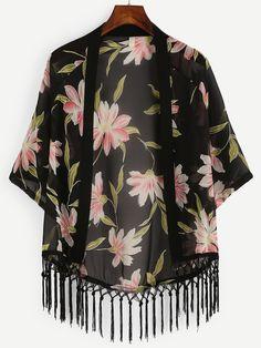 Black Flower Print Macrame Fringe Chiffon Kimono