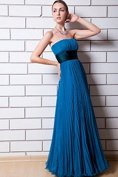 Elegant Blue Chiffon Evening Dress - Order Link: http://www.theweddingdresses.com/elegant-blue-chiffon-evening-dress-twdn1430.html - Embellishments: Sash , Ruched; Length: Floor Length; Fabric: Chiffon; Waist: Natural - Price: 165.02USD