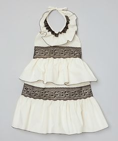 Loving this Ivory & Black Ruffle Halter Dress - Infant, Toddler & Girls on #zulily! #zulilyfinds