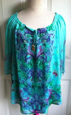 One World Live & Let Live BOHO 3/4 Sleeve Top Shirt Sheer Sublimation Floral XL #LiveandLetLive #Blouse #Casual