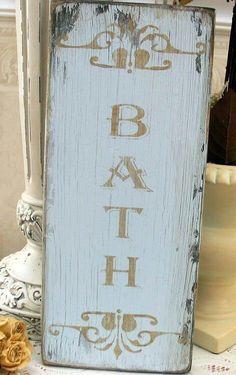 Shabby Chic Bath Sign #diy #decor #wall art