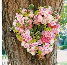 love the heart shaped wreath Heart Decorations, Ceremony Decorations, Wedding Wreaths, Wedding Flowers, Vintage Country Weddings, Rustic Weddings, Heart Crafts, Bouquet, Different Flowers
