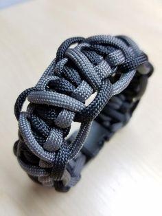 Black and gray paracord bracelet.