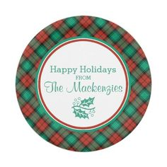 Traditional Christmas Plaid Pattern Personalized Paper Plate