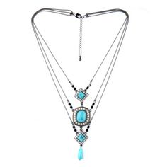 N3005-Fashion-Antique-Design-Three-Layering-Black-Painted-Turquoise-Necklace-New