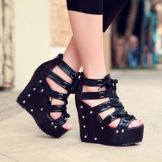 c8502820323 Gothic shoes Gladiator Cut out Nightclub stuff shoes sandals super wedge  heels