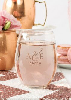 Toast to love at your wedding or bridal shower with personalized stemless wine glasses! These 15oz glasses fit a little more so that you can eat, drink and be merry well into the night.