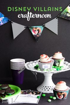 Ideas to host your own Disney Side Party at home, links to free Disney printables, free invitations and party decor. Maleficent party ideas