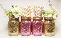LISTING INCLUDES---SET OF 4 JARS WTH BAND  These glitter jars will make any event sparkle! They can be filled with utensils, straws, preserved flowers,