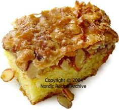 Tosca cake slice - vanilla cake with almond brittle...  Love nordic cooking!  August Scandanavian/Eastern European Cakes