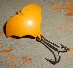 Vintage Fishing Lure Vibra Baby Bat Yellow Fishing by TheBackShak,