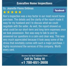 Ron's inspection was a key factor in our most recent home purchase. The details and the...