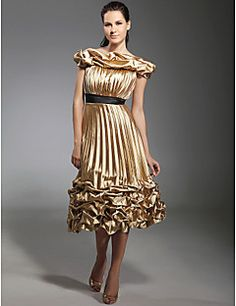 TS Couture® Cocktail Party / Holiday Dress - Short Plus Size / Petite A-line / Princess Off-the-shoulder Tea-length Stretch Satin withDraping / Pick – USD $ 370.00