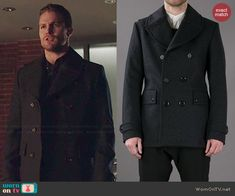 Oliver's pea coat on Arrow.  Outfit Details: http://wornontv.net/46153/ #Arrow