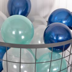 Mint and navy party balloons for summer weddings and boy baby showers