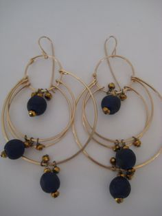 Royal Blue Sparkling Hoops by 3tomatoes on Etsy, $120.00