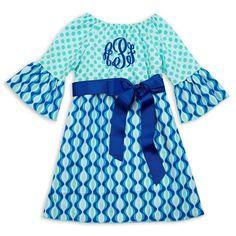 Aqua Dot Royal Blue Wave Sash Dress