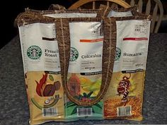 Bag made of recycled coffee bags.   Save those margaritaville  coffee bags parrot heads!
