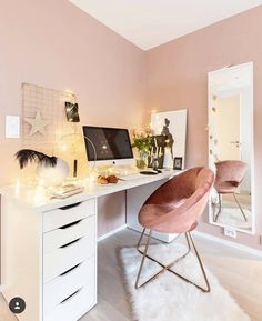 Home Office dos sonhos! Wonderful Teen Bedrooms Dos Home office sonhos Home Office Design, Home Office Decor, Home Decor, Office Desk, Home Office Bedroom, Office Style, Trendy Bedroom, Room Ideas Bedroom, Bedroom Decor