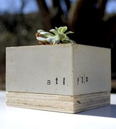 Custom Concrete Cube Planter | Bring a little industrial-style greenery into your home or off... | Pots & Planters