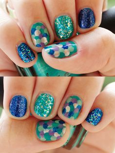 #nails #blue #green