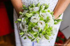 Bouquet Sposa fiori a pallini verdi e bianchi
