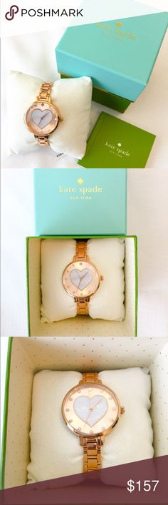 New Kate Spade Metro Rose Gold-Tone Watch! Mother of pearl heart makes the center of this watch and it is paired with pearlized markers.  From Kate Spade's metro collection, this timepiece features stainless steel bracelet with a butterfly deployant closure, quartz movement, 34mm, water resistant to 30 meters.  Protective stickers are still on the face of the watch as well as on the back and closure. kate spade Accessories Watches