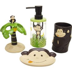 Monkey Bath Accessories Set for the jungle bathroom. For Matty's bathroom.