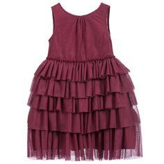 Burberry Burgundy Ruffle Tiered Tulle Dress at Childrensalon.com