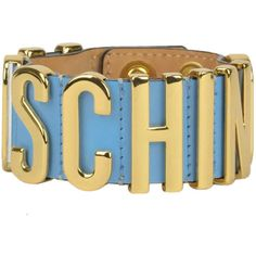 Moschino Couture Designer Logo Leather Bracelet ($131) ❤ liked on Polyvore featuring jewelry, bracelets, adjustable bangle, moschino, logo jewelry, initial bangle and leather jewelry