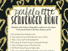 Check out this super fun and cute bachelorette scavenger hunt game! Such a FUN bachelorette game idea! Available instantly.