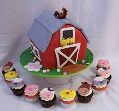 Barn cake Animal cupcakes by Amanda Oakleaf Cakes, via Flickr