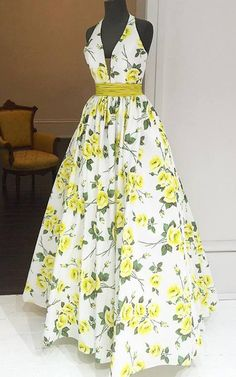 50472 White Yellow Floral Print A Line Halter Taffeta Long Prom Dress