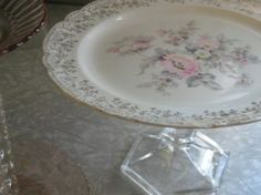 Pedestal Plate! Vintage china becomes a cake stand when paired with a crystal candlestick.