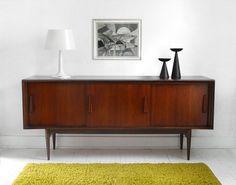 Vintage Walnut Credenza - Cabinet, Dresser, Mid Century, Modern, Wood, Buffet